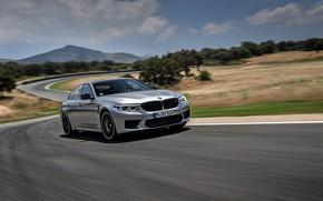 Picture asphalt, grey, movement, BMW, sedan, track, 4x4, 2018, four-door, M5, V8, F90, M5 Competition