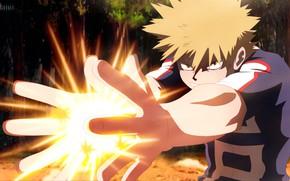 Picture the explosion, hands, guy, My hero Academy, Boku No Hero Academy, Bakuga Katsuki