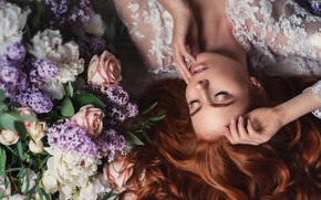 Picture girl, flowers, face, pose, hands, makeup, red, redhead, closed eyes, Natalia Magicka, Anna Saeva