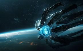 Picture space, fantasy, science fiction, stars, spaceship, sci-fi, planet, digital art, artwork, shield, fantasy art, energy …