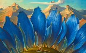 Picture the sky, clouds, mountains, surrealism, picture, painting, the magical world, Metamorphosis, Vladimir Kush, blue sunflower