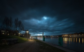 Picture lights, river, France, the evening, lights, promenade, Lyon