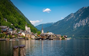 Picture mountains, lake, building, home, Austria, Alps, town, Austria, Hallstatt, Alps, Lake Hallstatt, Hallstatt, Lake Hallstatt, …