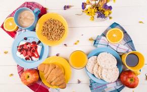 Picture apples, coffee, orange, Breakfast, juice, muesli