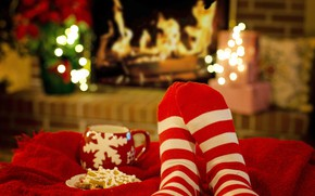 Picture winter, light, lights, comfort, heat, fire, flame, holiday, stay, feet, cookies, Christmas, mug, gifts, red, …