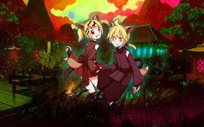 Picture landscape, children, Park, the evening, Vocaloid