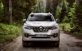 Picture Renault, front view, pickup, 4x4, 2017, Alaskan, gray-silver