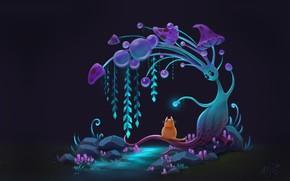 Picture cat, night, fantasy, art, children's, Anna Kummer, Curious cat
