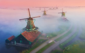 Picture road, fog, channel, mill, Magic Windmills