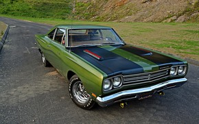Picture Muscle, Green, Plymouth, Road Runner, 383 Six Pack