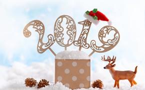 Picture holiday, deer, figures, New year, composition, 2019, Svetlana Kolpakova