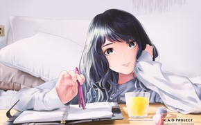 Picture girl, glass, Notepad