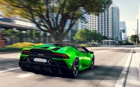 Picture machine, trees, street, speed, Lamborghini, lights, optics, sports car, Spyder, Evo, Huracan
