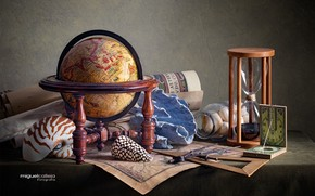 Picture card, shell, still life, globe, hourglass, the compass