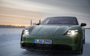 Picture snow, Porsche, green, before, 2020, Taycan, Taycan 4S