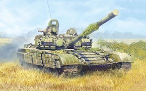 Picture art, painting, tank, T-72