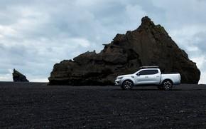 Picture rock, silver, Renault, profile, pickup, 2015, Alaskan Concept