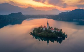 Picture landscape, sunset, mountains, nature, lake, the evening, Church, island, Slovenia, Bled, Andrey Rodionov