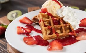 Picture strawberry, plate, ice cream, cream, dessert, waffles, jam