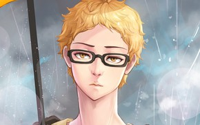 Picture umbrella, glasses, guy, Volleyball, Haikyuu, Tsukishima Kei