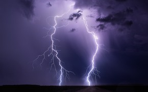 Picture the storm, the sky, night, clouds, element, lightning