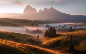 Picture nature, fog, Alpe Di Siusi / Seiser Alm, Italien Dolomites