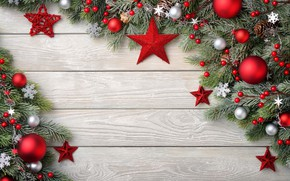 Picture snowflakes, branches, holiday, toys, ate, New year, bumps, wood, decor, composition