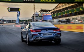 Picture asphalt, movement, coupe, BMW, back, Coupe, 2018, gray-blue, 8-Series, pale blue, M850i xDrive, Eight, G15