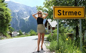 Picture forest, road, sky, hot girl, trees, nature, sign, snow, street, buildings, sexy woman, countryside, posing, …