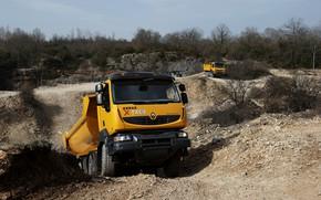 Picture orange, truck, Renault, quarry, dump truck, 8x4, four-axle, Renault Trucks, Kerax