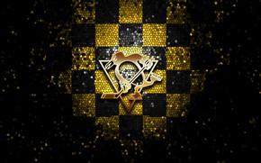 Picture wallpaper, sport, logo, NHL, hockey, glitter, checkered, Pittsburgh Penguins