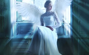 Picture girl, rays, light, pose, room, wings, angel, picture, window, art, hairstyle, blonde, white, painting, sitting, …