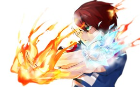 Picture anime, Fire, art, Boku no Hero Academy, My hero Academy, Todoroki Shouto, My Hero Academia, …