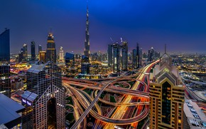 Picture the sky, night, the city, lights, blue, view, building, tower, skyscrapers, the evening, Dubai, architecture, …