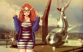 Picture Girl, Photo, Figure, Fish, Girl, Art, Art, Red, Illustration, Characters, by Maku Zoku, Maku Zoku, …