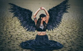 Picture girl, cracked, pose, earth, woman, wings, angel, hands, sitting, black