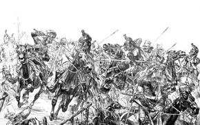 Picture Figure, Soldiers, Horse, Battle, Art, Russian, The French, 1812, Black and white, Davydov, Сеславин, Фигнер, …