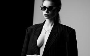 Picture white, black, model, glasses, pose, A Diakov George