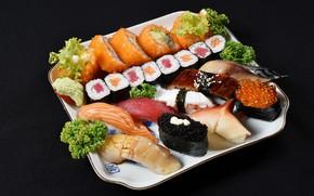 Picture caviar, sushi, rolls, specialties