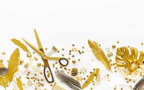 Picture white, leaves, background, gold, decor