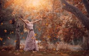 Picture autumn, joy, foliage, girl, Jessica Drossin