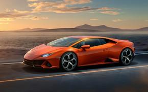Picture road, sunset, orange, lights, graphics, Lamborghini, wheel, Lamborghini, Huracan, Lamborghini Huracan, Hurakan, Huracan Evo, Lamborghini …