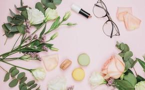 Picture background, pink, bouquet, lipstick, glasses, composition, eustoma, Macaroons, limonium
