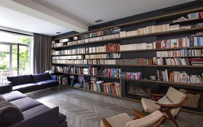Picture interior, fireplace, library, living room, MG's House
