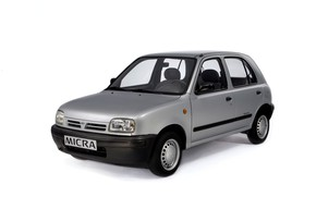 Picture grey, white background, Nissan, Micra 5-door, 1992–97, (K11)