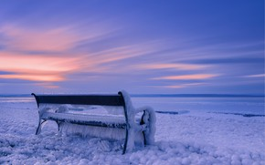 Picture cold, winter, ice, bench