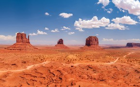 Picture the sky, clouds, rocks, blue, desert, view, dal, space, panorama, USA, Monument valley, education, fossilized …