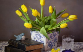 Picture flowers, glass, style, books, tulips, vase, bird, still life, buds, yellow tulips