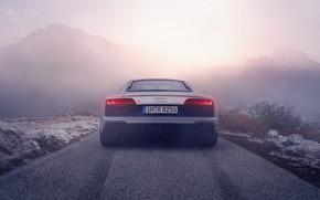 Picture road, silver, supercar, audi r8