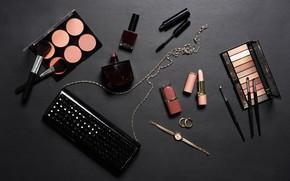 Picture watch, lipstick, mascara, shadows, bag, brush, cosmetics